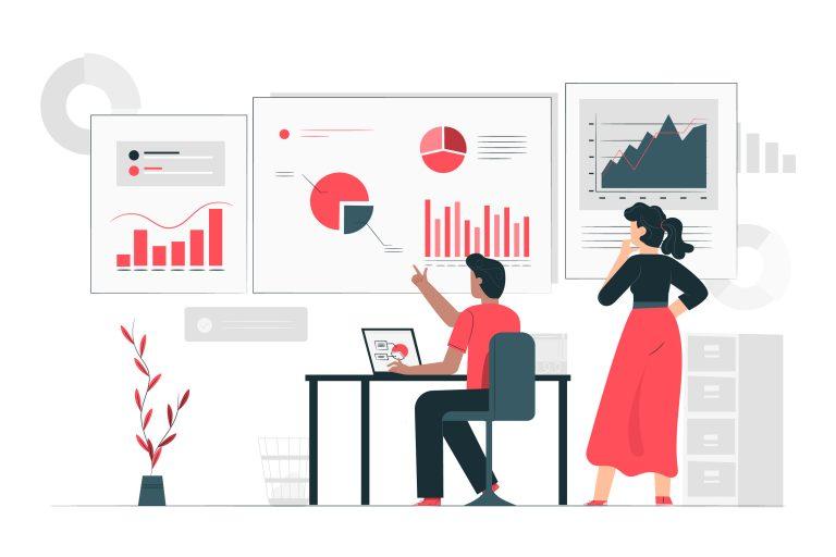 Diagramokat vizsgáló férfi és nő - Bejegyzésnél