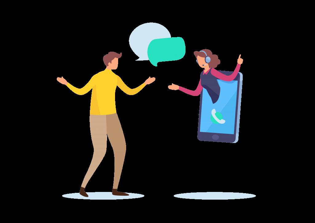 Kapcsolat visszajelzés- nő és férfi telefonnal